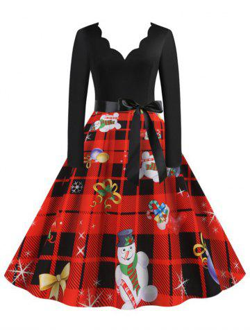 Scalloped Neck Christmas Pattern Plaid Belt Long Sleeve Dress - RED - XXXL