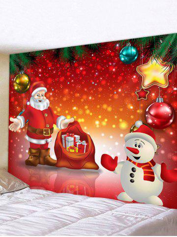 Snowman Santa Christmas Print Waterproof Wall Tapestry