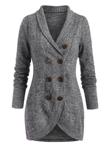 Shawl Collar Double Breasted Knit Coat - GRAY - M