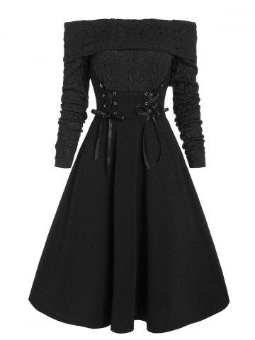 Off The Shoulder Lace Up Cable Knit Mixed Media Dress - BLACK - L