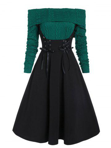 Off The Shoulder Lace Up Cable Knit Mixed Media Dress