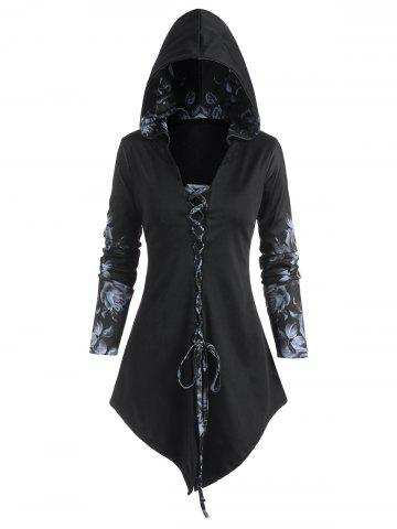 Hooded Rose Print Lace-up Front Lace Panel Asymmetrical Top