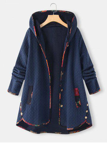 Plus Size Hooded Contrast Trim Pocket Embossed Tunic Coat