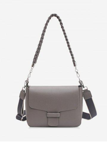 Solid Braid Strap Cover Shoulder Bag - GRAY