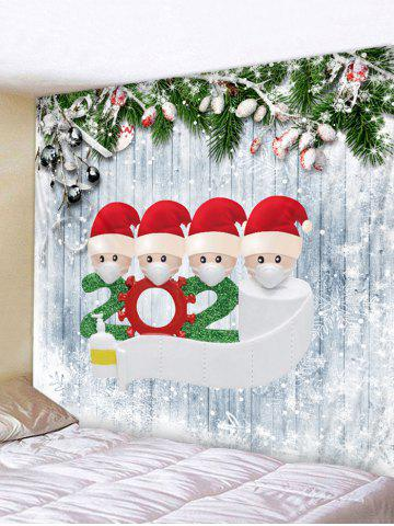 Christmas Wooden Grain Santa Print Wall Tapestry - CRYSTAL CREAM - W59 X L51 INCH