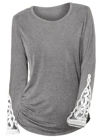 Ruched Sides Crochet Lace Insert Long Sleeve T Shirt