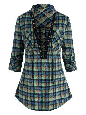 Plaid Print Double Pockets Lace-up Blouse