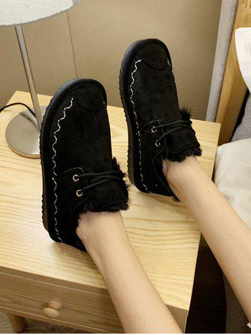 Casual Lace Up Faux Fur Flat Shoes - BLACK - EU 37