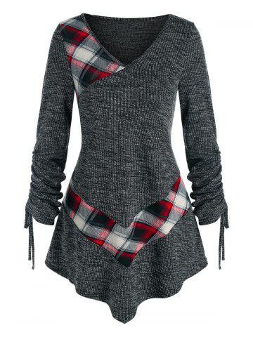 Cinched Sleeve Plaid Heathered Knitted Tee