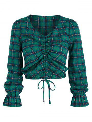 Poet Sleeve Plaid Print Cinched Cropped Blouse