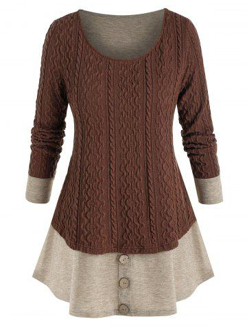 Plus Size Knitted Colorblock Mock Button Twofer T Shirt - DEEP BROWN - L