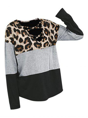 Leopard Crisscross Drop Shoulder Tee - BLACK - XL