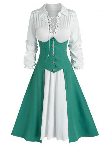 Lace-up Dress and High Low Corset Skirt - LIGHT SEA GREEN - 2XL