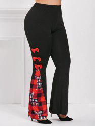 Christmas Bowknot Plaid Elk Plus Size Flare Pants -