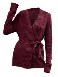 Collarless Belted Knitted Coat -