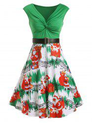 Christams Twist Front Santa Claus Musical Note Print Sleeveless Dress -