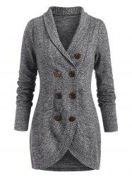 Shawl Collar Double Breasted Knit Coat -