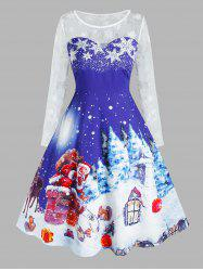 Plus Size Christmas Claus Snowflake See Thru Long Sleeve Dress -