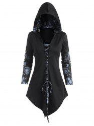 Hooded Rose Print Lace-up Front Lace Panel Asymmetrical Top -
