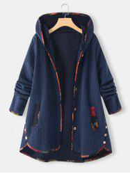Plus Size Hooded Contrast Trim Pocket Embossed Tunic Coat -