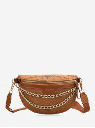 Layers Chain Wide Strap Crossbody Bag -