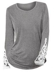 Ruched Sides Crochet Lace Insert Long Sleeve T Shirt -
