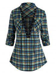 Plaid Print Double Pockets Lace-up Blouse -