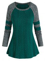 Raglan Sleeve Cable Knit Colorblock Striped Sweater -