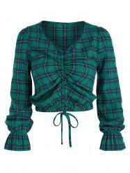 Poet Sleeve Plaid Print Cinched Cropped Blouse -