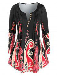 Plus Size Pintuck Octopus Print Long Sleeve Tunic Tee -