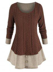 Plus Size Knitted Colorblock Mock Button Twofer T Shirt -