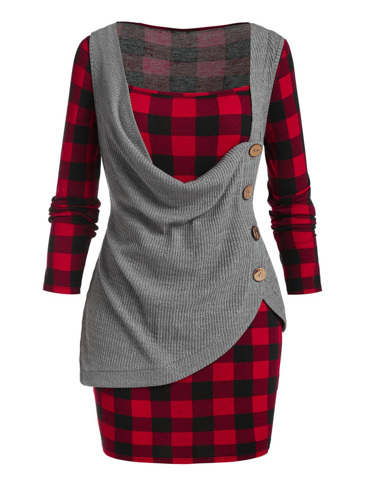 Outfit Plus Size Cowl Front Knitwear and Plaid Mini Bodycon Dress Set