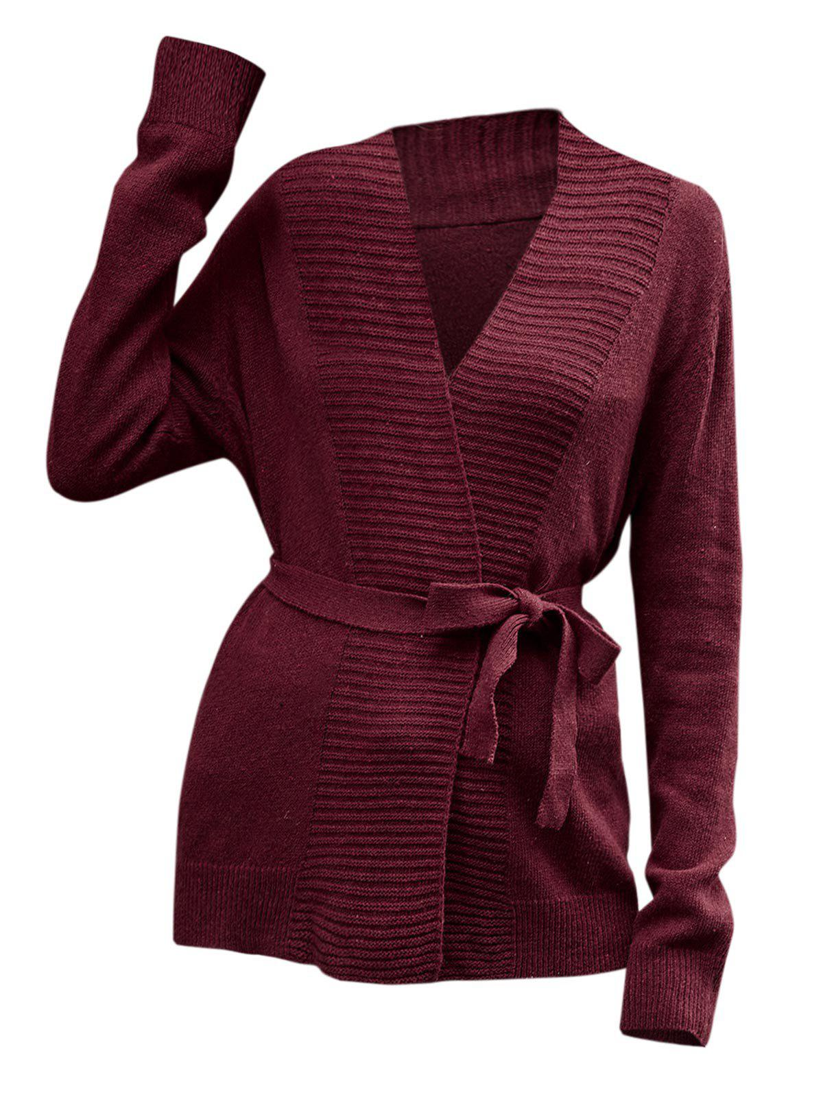 Latest Collarless Belted Knitted Coat