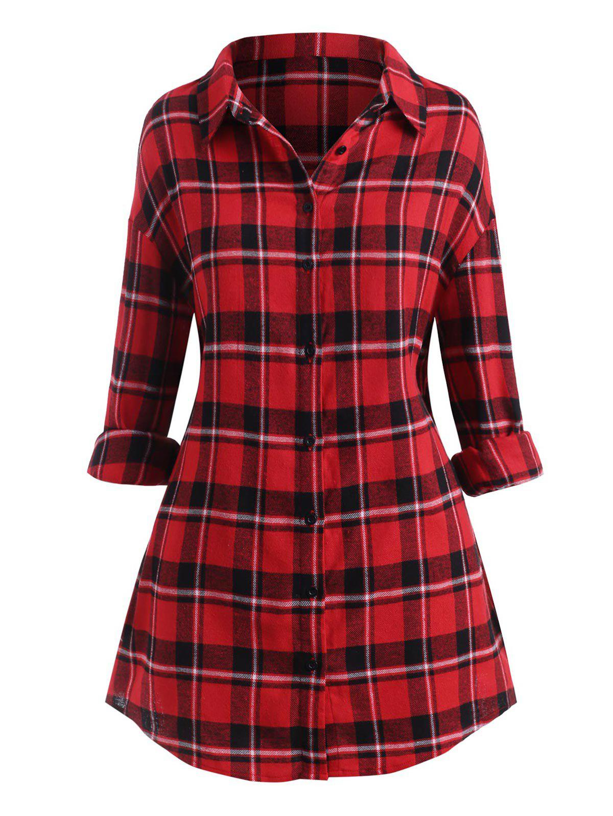 Latest Plus Size Plaid Drop Shoulder Button Front Tunic Shirt