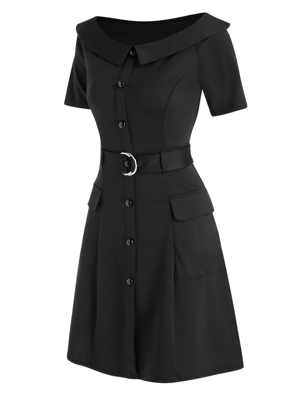 Outfit Boat Neck Pockets Mini Dress