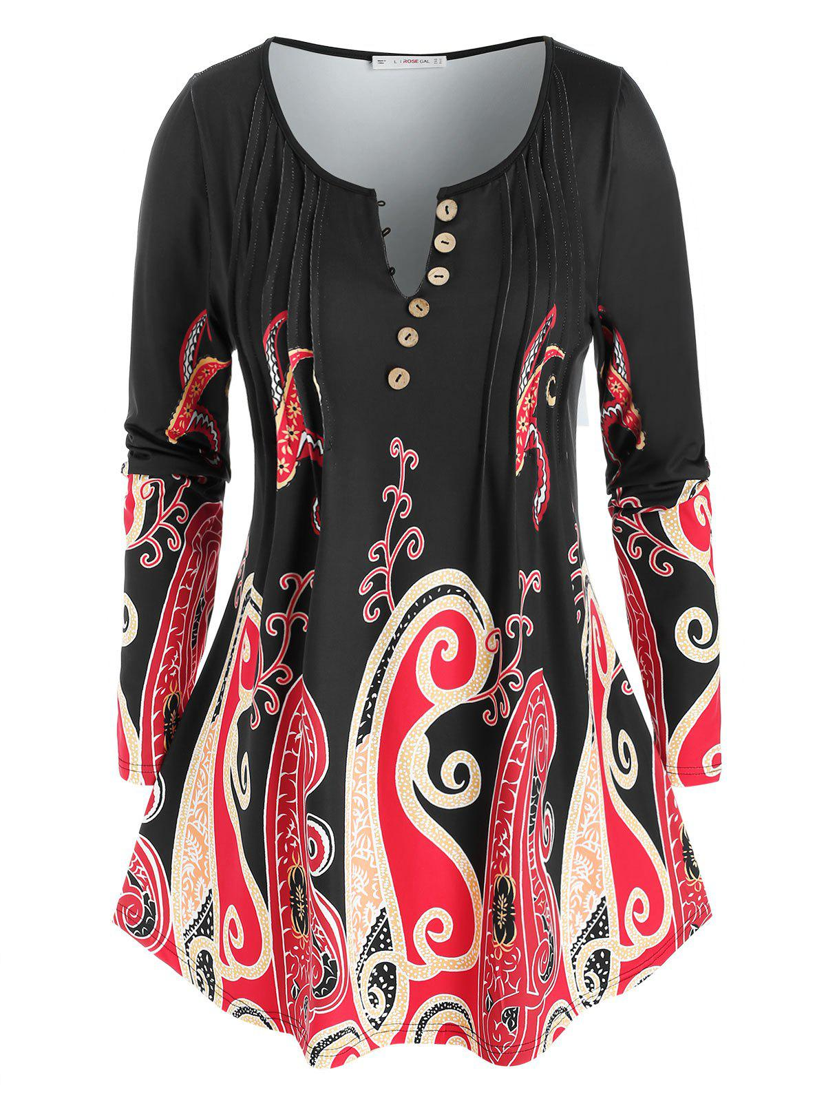 Discount Plus Size Pintuck Octopus Print Long Sleeve Tunic Tee