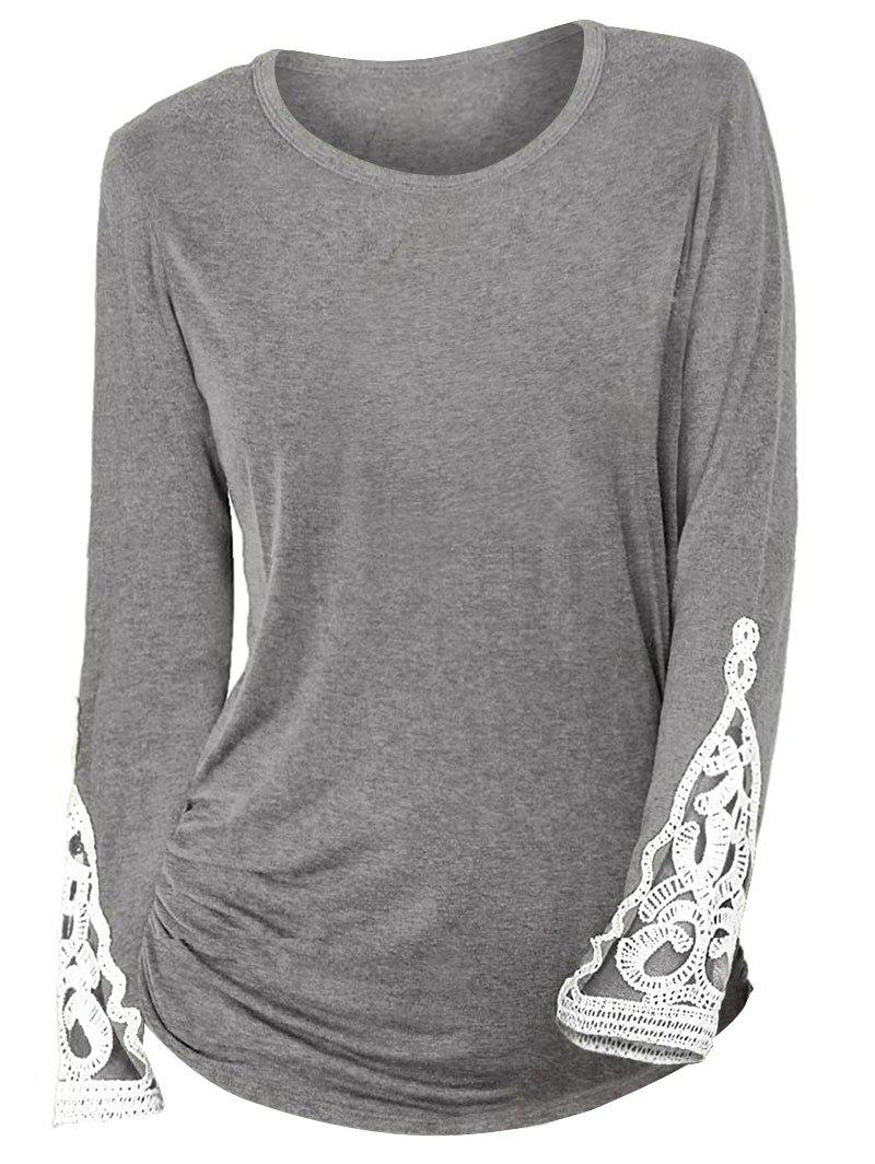Hot Ruched Sides Crochet Lace Insert Long Sleeve T Shirt
