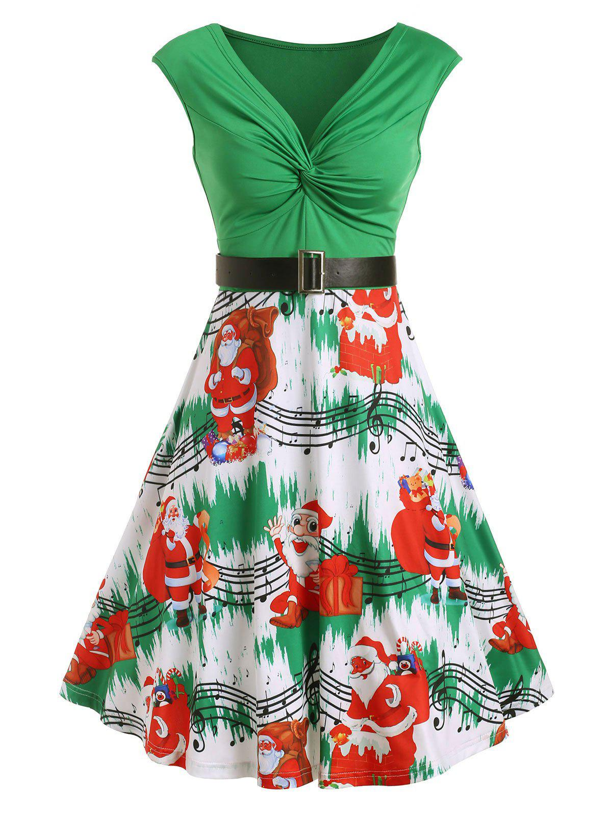 New Christams Twist Front Santa Claus Musical Note Print Sleeveless Dress