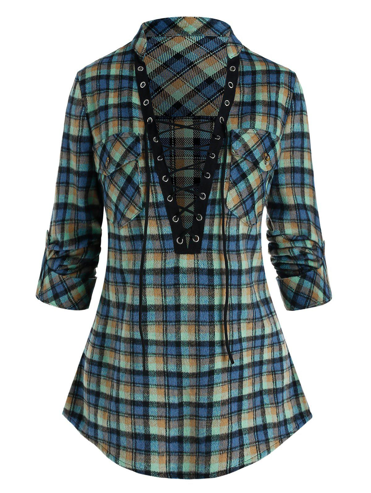 Fancy Plaid Print Double Pockets Lace-up Blouse