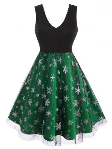 Plus Size Christmas Snowflake Mesh  Fit and Flare Dress