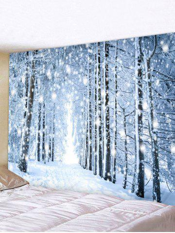 Snowy Forest Trail Print Tapestry Wall Hanging Art Decoration
