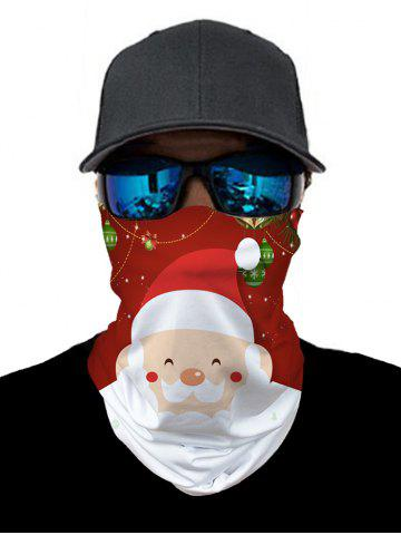 Christmas Santa Print Outdoor Neck Gaiter - RED WINE - 25*50CM
