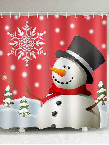 Christmas Hat Snowman Print Waterproof Shower Curtain