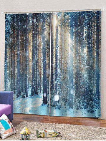 2 Panels Snow Forest Print Window Curtains