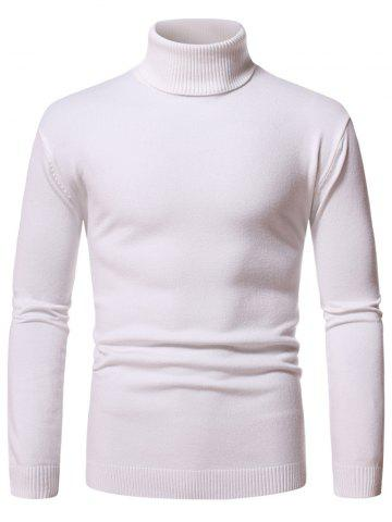 Turtleneck Pullover Plain Sweater - WHITE - XXL