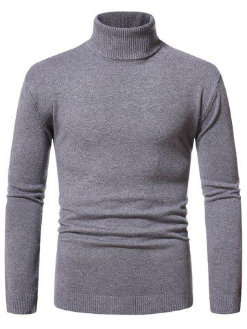 Chandail Pull-over Simple à Col Roulé - DARK GRAY - XXL