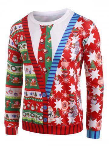 Santa Claus Pattern Crew Neck Christmas Sweatshirt