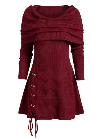 Lace Up Multiway Foldover Long Knitwear - DEEP RED - L