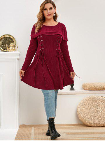 Plus Size Foldover Lace Up Knitwear