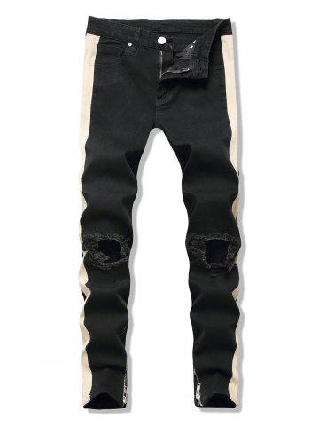 Cut Out Contrast Tape Tapered Jeans - BLACK - XL